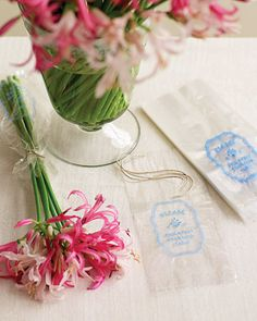 "I love the idea of giving flowers ""to go"" for an 80th birthday party favor"