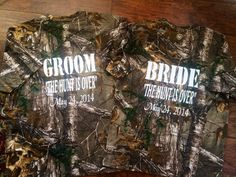 The Hunt is Over Camo Couples Bride and Groom Shirts on Etsy, $48.00