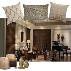 Neutrals and texture on Polyvore with dark wood blinds