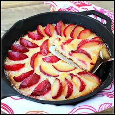 Plum Skillet Cake by whataboutsecondbreakfast. Recipe by Martha Stewart.  #Cake #Plum #whataboutsecondbreakfast #marthastewart