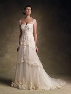 Cap sleeves a-line wedding gown with sweetheart neckline