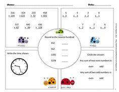 free math printables-preview for 3rd grade