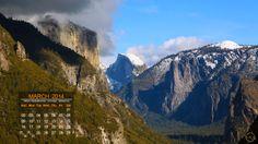 Incredible Half Dome in Yosemite - Desktop Calendar / Wallpaper – March 2014