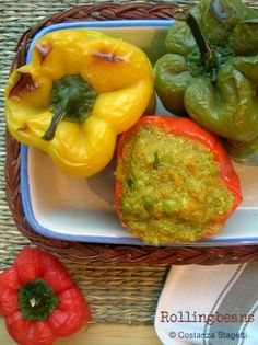Ricette vegane Vegan recipes Peperoni ripieni di quinoa e amaranto Quinoa Amaranth stuffed peppers #amaranto #quinoa #ricette