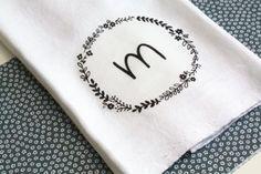Personalized Flour Sack Tea Towel on Bourbonandboots.com