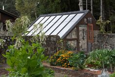 Helen and Scott Nearing's Farm Good Life Center - walled garden and their little greenhouse.  Harborside, Maine