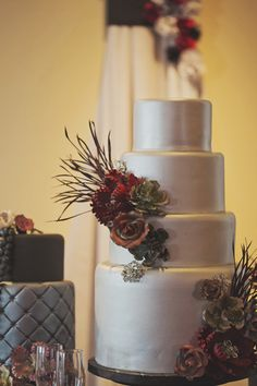 metallic silver #weddingcake - Millie B Photography - http://ruffledblog.com/notwedding-wichita/