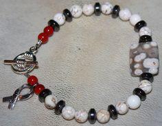 Diabetes Awareness Bracelet Red Coral Hematite by LetitBJewelry, $15.00