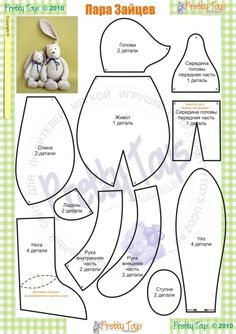 stuffed animal pattern: floppy eared rabbit kijk voor vilt op http://www.bijviltenzo.nl