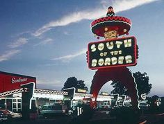 A 97-foot-tall Pedro lures motorists to South of the Border, one of America's hokiest and most enduring roadside attractions. Dillon, SC