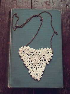 Heart necklace - made with a doily