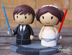 Cute Wedding Cake Topper - Bride and Groom with lightsaber on Etsy, $203.45
