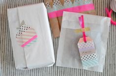 beautyeveryday.canalblog. gift bags, gift wrap, favors, packag, gift tags, beauty, diy mask, mask tape, masking tape
