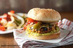 Chicken Fajita Burgers on the grill! Perfect for summer!