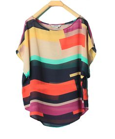Color Matching Loose Chiffon Shirt#Repin By:Pinterest++ for iPad#