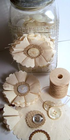 button flowers, burlap flowers, fabric flowers, color, paper flowers, buttons, mason jars, coffee filters, muslin flower