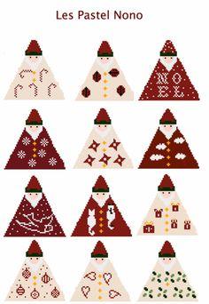 many triangle santas