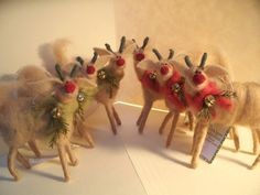 Reindeer Wool Wrapped/Needle Felted Ornament - New Design for  2011. $23.00, via Etsy.