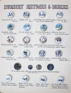 ButtonArtMuseum.com - It features 5 full sets of antique nursery rhyme buttons.  Jack and Jill, The cat and the fiddle, old king cole, three little kittens and a few different versions of the fox and the stork.  This is a very very old card created in the 1950's, the buttons being much older.  The text has been carefully hand written in great detail and it is truly an adorable card.