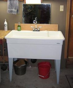 A utility sink that does the job and it comes in different sizes in case you need one large enough to wash the dog.