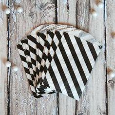 Diagonal Stripe Mini Favor Bags - Black