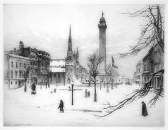 Etching on paper. 'Winter, Mt. Vernon Place' in Baltimore by Gabrielle de Veaux Clements.  1858-1948