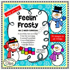 Feelin Frosty Mix and Match Winter Clip Art Collection from KB Konnected Clips on TeachersNotebook.com -  (61 pages)  - Includes 8 snowflake hat snowman 8 star hat snowmen 8 earmuff snowmen 8 snowflake papers 8 chevron papers 8 doodle frames  Line art too!  61 png images - 300dpi  Each image in eight colors!