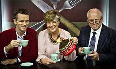 Oliver Peyton, Prue Leith and Matthew Fort in Great British Menu Photograph: BBC/Optomen Television Ltd/Andrew Hayes-Watkins