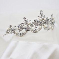 Pearl and Austria Rhinestone Bridal Tiara, Wedding Tiara headpiece, Bridal Princess Crown, Crystal Headband