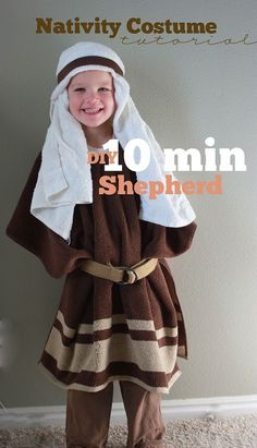 10 Minute Nativity Shepherd Costume using a bath towel
