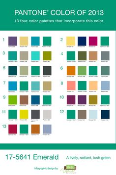 Pantone Color of the Year - Emerald - Color pallets using Emerald, color combos, green