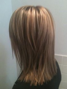 Medium-this is a graduated shoulder length cut with more than 1 color including 8g, 7n and 9gb. She will need to flat iron using a protective straightening lotion to protect from heat.I also suggest that she use an anti frizz polishing milk to defy fizz. I woud like to see her back in 6-8 weeks.