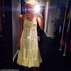 Miley Cyrus instagrams a selfie in a crochet-embellished dress (July 2014)
