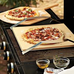 Brick oven–style pizza stone includes a stainless-steel carrier for safe, quick transfer to the oven or outdoor grill. #pizza