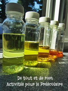 Everything and nothing: Activities for Preschool: Bottles of discovery: color palette, ascending and descending, conservation