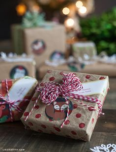 Brown paper packages (with #MarthaStewartHomeOffice Avery labels) tied up with string
