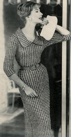 Vogue Knitting 1960 Deep Collar Dress via Etsy. vintag fashion, knitting patterns, fair isle knitting, knit 1960, aunts, vintag cloth, collar dress, 50s cloth, vintage vogue