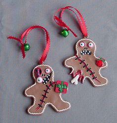 Zombie Gingerbread Men Handmade Handpainted Creepy Cute Set Of 2 Clay Ornaments