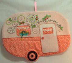 Happy Camper vintage trailer glamping mug rug