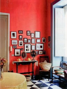 Red + gallery wall.