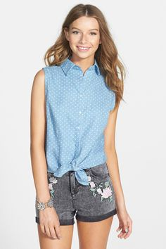 PPLA | PPLA Polka Dot Sleeveless Tie Waist Shirt (Juniors) | Nordstrom Rack