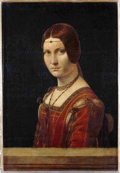 RENAISSANCE PAINTING 15TH CENTURY   Leonardo da Vinci  La belle Ferroniere. Portrait of a lady from the court of Milan, Italy. Oil on wood (15th) 63 x 45 cm Inv. 778   Louvre, Departement des Peintures, Paris, France