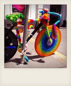 yarn bomb rainbow bike