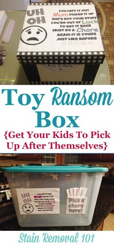 Toy ransom box, a.k.a toy jail. to help motivate kids to pick up after themselves of face a consequence {on Stain Removal 101}