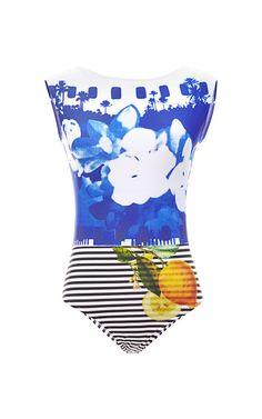 M'O Exclusive: Printed Scoop-Back Swimsuit by Salinas - Moda Operandi