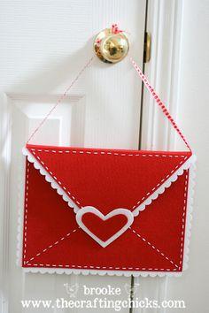 valentine crafts, felt envelop, idea, envelopes, valentin craft