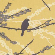 Joel Dewberry - Aviary 2 - Sparrows in Vintage Yellow