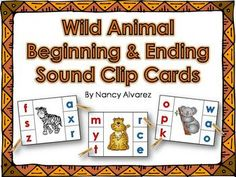 FREEBIE  Wild Animal Beginning and Ending Sound Clip Cards