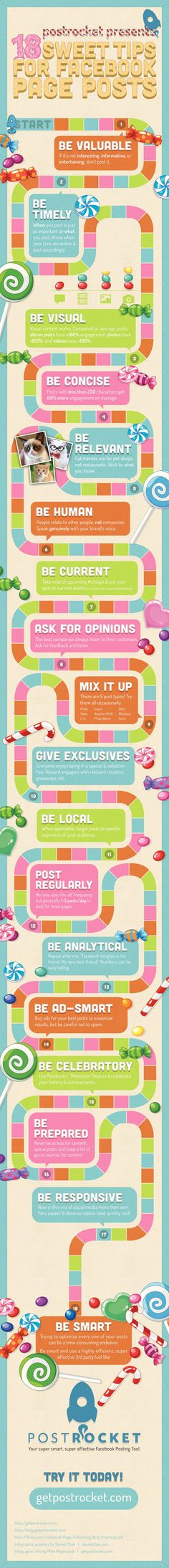 INFOGRAPHIC: 18 Sweet Tips For Facebook Page Posts @postrocket