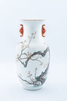 Kangxi Mark, Late of Qing Dynasty Period The sides decorated with a quietly elegant plum blossom.  Height:23cm